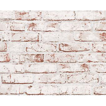 A.S. Creation AS Creation Painted Brick Wall Stone Faux Effect Embossed Brown White Mural Wallpaper