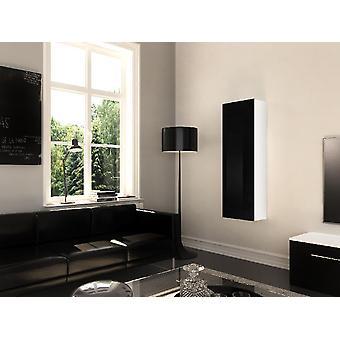 Móvil Multipropósita Tallin Color Blanco Opaco, Negro Brillante en Chip, MDF 30x29x126 cm