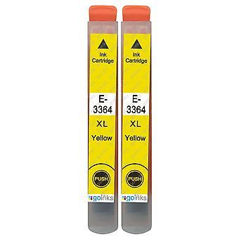 2 cartouches d'encre jaune pour remplacer Epson T3364 (série 33XL) Compatible/non OEM de Go Inks
