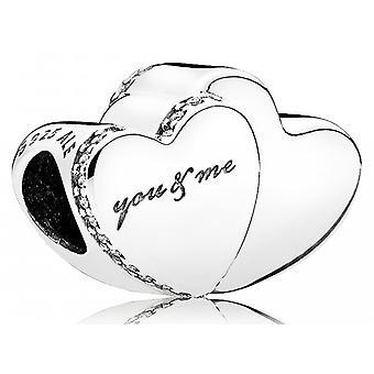 Les deux cœurs Pandora charment - CZ clair - 796560CZ