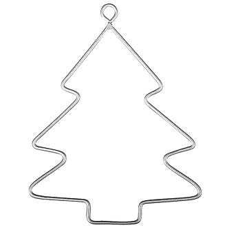 3 Small Hanging Wire Christmas Tree Baubles to Decorate - 7.5cm