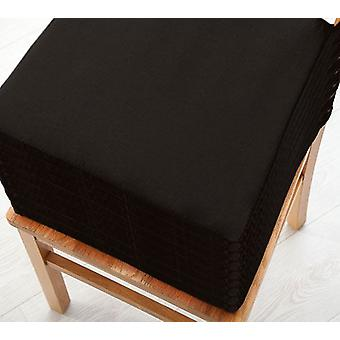Black 8pk Seat Pad Cushions with Secure Fastening Dining Kitchen Chairs Soft Cotton Twill