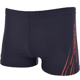 Speedo Boys Sports Logo Swim Pool Holiday Summer Swimming Shorts Briefs - Navy