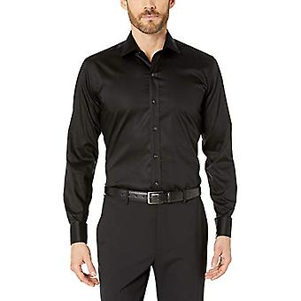 BUTTONED DOWN Men's Slim Fit French Cuff Micro Twill Non-Iron Dress Shirt, Bl...