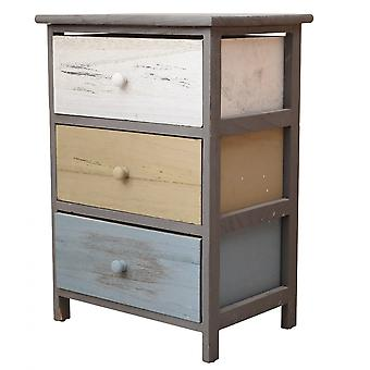 Rebecca Furniture Bedside Lades 3 Laden Grijs Beige Hout 56x40x29