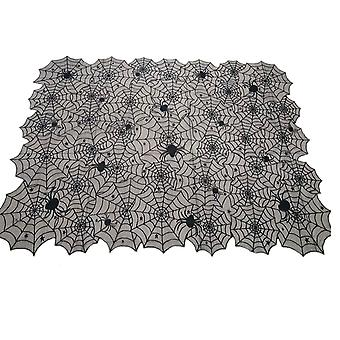 Halloween black spider web tablecloth, fireplace party decoration