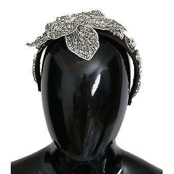 Black crystal silver diadem tiara headband