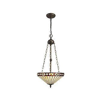 Luminosa-valaistus - 3 vaaleaa uplighter-kattoriipus E27 40cm Tiffany-sävyllä, meripihka, kristalli, ikääntynyt antiikki messinki