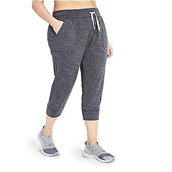 Core 10 Women's Plus Size Lightweight Cool Down 7/8 Crop Jogger  Sweatpant, Dark Heather Grey, 1X