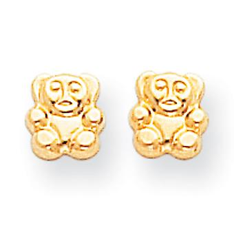 14k Yellow Gold Open back Post Earrings Polished Teddy Bear Screw back Earrings Measures 6x5mm Jewelry Gifts for Women