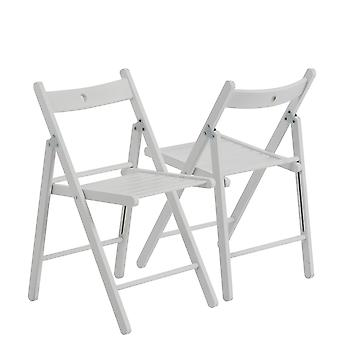 Wooden Folding Chairs - White Wood Colour - Pack of 2