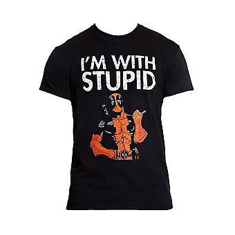 メン&アポス;sマーベルデッドプールI'mと愚かな黒いTシャツ