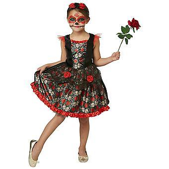 Punainen Ruusu Päivä Kuollut Senorita Espanjalainen Meksikolainen Tween Tytöt Puku 9-10Y