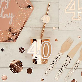 40th Birthday Paper Cups x8 | Rose Gold Tableware Decoration