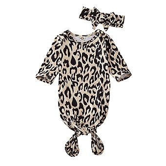 Long Sleeve, Leopard Printed Swaddle Wrap With Headbands