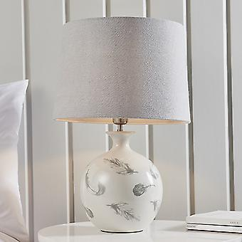 Table Lamp Light Grey Crackle Glaze & Charcoal Linen 1 Light IP20 - E27