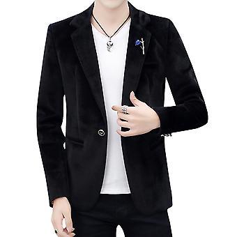יאנגפאן גברים & apos;ז'קט חליפה כפתור יחיד צבע אחיד לעבות בלייזר