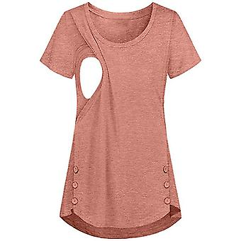 Women Feeding Button Clothing Short Sleeve Maternity Nursing Top Pregnancy Tees Shirt
