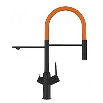 3 Way Blackchrome Kitchen Filter Sink Mixer Orange Movable Spout And 2 Jet Spray, Works With All Water Filter System - 598