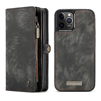CASEME iPhone 12 / iPhone 12 Pro Retro LompakkoKotelo - Musta