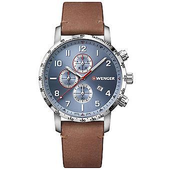 Wenger Attitude Quartz Blue Dial Brown Leather Strap Chronograph Men's Watch 01.1543.114