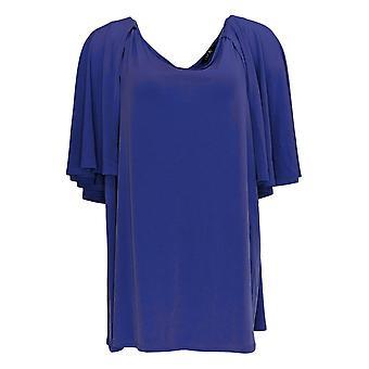 IMAN Global Chic Women's Plus Top Cape Overlay Scoop Neck Purple 694-192