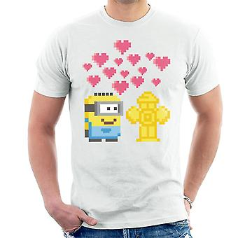 Despicable Me Minion Pixel Love For Fire Hydrant Men's T-Shirt