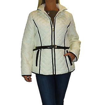 Womens Plus Size Quilted Winter Jacket With Hood Ladies Lightweight Coat With Belt 12-22