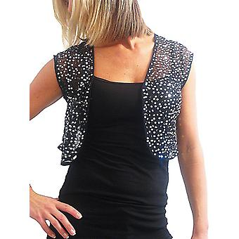Women's Party Silver Sequin Bolero Shrug Ladies Evening Short Sleeve Lightweight Stretch Mesh Cropped Jacket Black 8-12