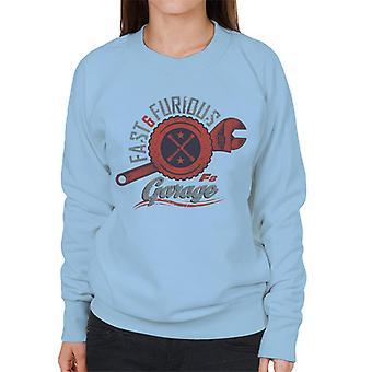 Schnelle und wütende 8 Garage Logo Frauen's Sweatshirt