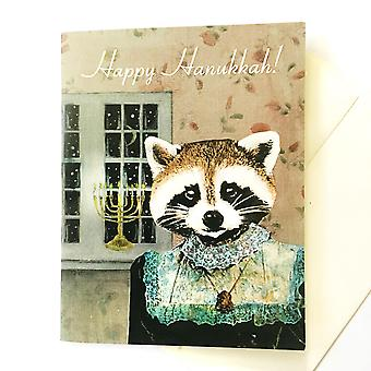 Happy Hanukkah With This Sweet Raccoon And Her Menorah! Card