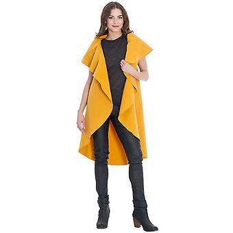Mustard sleeveless oversized cape