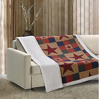 Spura Home Mountain Cabin Blue Patchwork Quilted Sherpa Throw