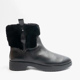 FitFlop Mimie Ladies Leather Ankle Boots All Black