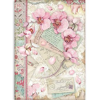 Stamperia Rice Paper A4 Pink Orchidee