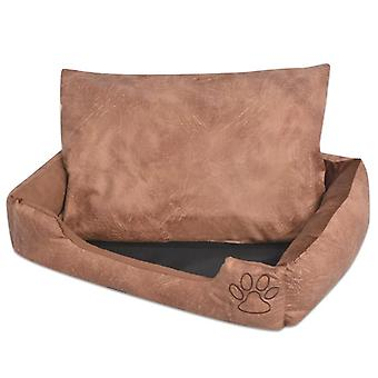 vidaXL dog bed with pillow PU synthetic leather size XXL beige