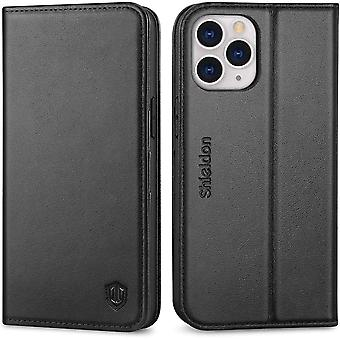 SHIELDON iPhone 12 Pro Max Case, Protective Genuine Leather Wallet Case [RFID Blocking][TPU Shell]