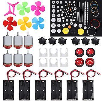 6 Set dc motor kit rectangular electric 1.5-3v 24000rpm mini motor with 86 pcs plastic gears 6 x aa