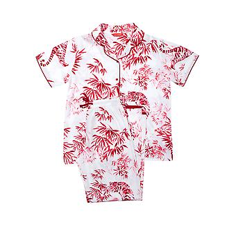 Minijammies Kristen 5685 Girl's White Animal Print Cotton Pyjama Set