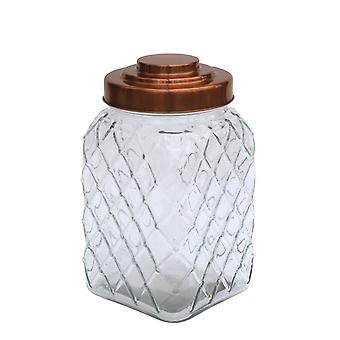 Copper Lidded Square Glass Jar - 10.5 Inch Med