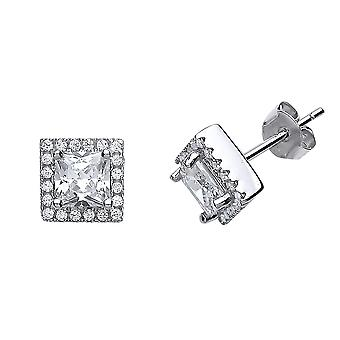 Jewelco London Ladies Rhodium Plated Sterling Silver Princess Cut Cubic Zirconia Halo Stud Boucles d'oreilles