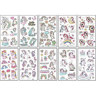 10pcs Cartoon Unicorn Face Temporary Tattoo Sticker  (10pcs)