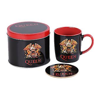 Queen Classic Crest Krus og Coaster Set i Gave Tin