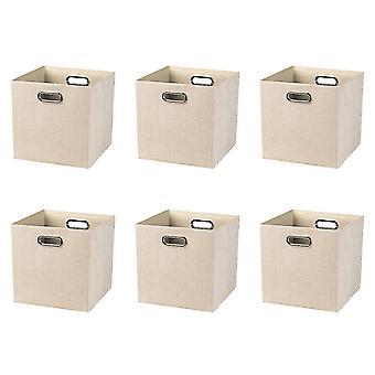 Boîte de rangement sans couvercle de tissu avec poignée 6pcs 28x28x28cm