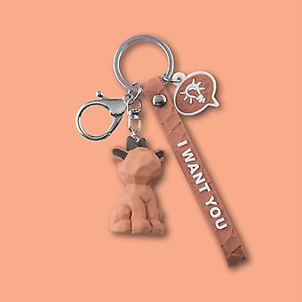 Cute Cartoon Geometric Doll, Keychain Male And Female Car Key Ring