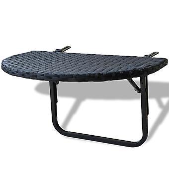 mesa de varanda vidaXL 60x60x32 cm Poly Rattan preto