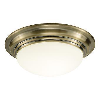 DAR BARCLAY Round Small Bowl Flush Teto Luz IP44 Antigo Bronze