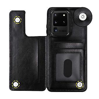 WeFor Samsung Galaxy S7 Edge Retro Läder Flip Case Wallet - Wallet PU Läder Cover Cas Case Svart
