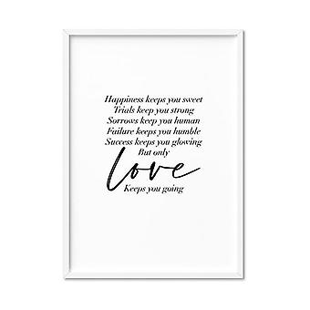 Love Keeps You Going Quote Art Print