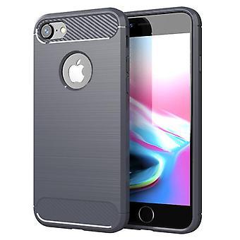 Tpu carbon fiber hoesje voor iphone 8 grijs mfkj-774